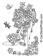zentangl, anti, meditativo, white., exercises., libro, vector, shoes, garabato, flores, ilustración, drawing., negro, floral., adults., colorido, énfasis, mujeres, s