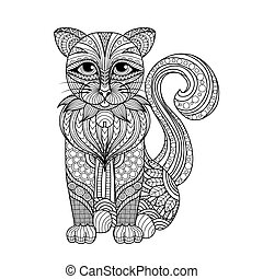 Zentangle cat - Drawing zentangle cat for coloring page,...