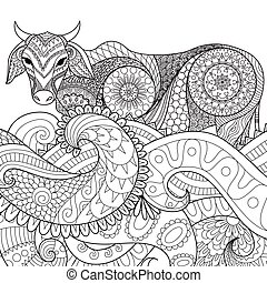 zentangle cow - Zendoodle design of cow swimming in the...