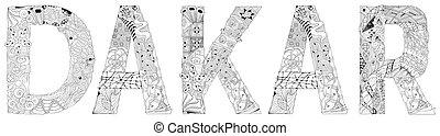 zentangle, dakar., décoratif, capital, objet, coloration, ville, sénégal, vecteur