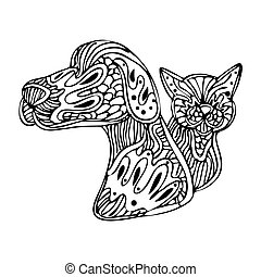 Zentangle Dog And Cat