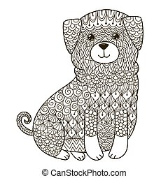 Zentangle dog for coloring page, shirt design, logo, tattoo and decoration