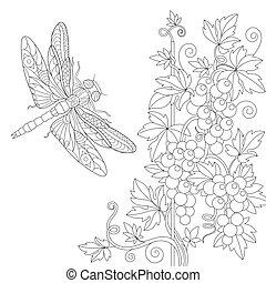 zentangle, estilizado, libélula, y, enredadera de uva