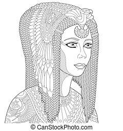 zentangle, estilizado, reina, cleopatra