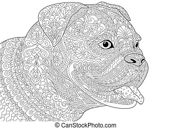 Zentangle german boxer dog - German boxer dog, isolated on...