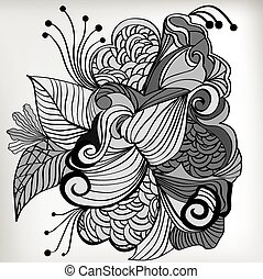 Zentangle hand drawn design with each element in a different...