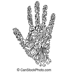 Zentangle Hand Outline - An image of a palm - zentangle...