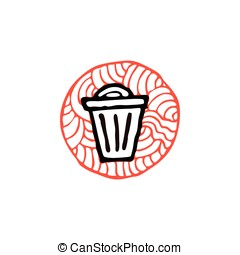 zentangle icon trash bin vector