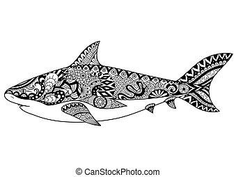 zentangle-inspired, tiburón