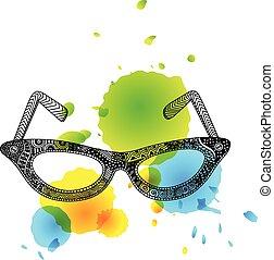 zentangle, lunettes, aquarelle, taches