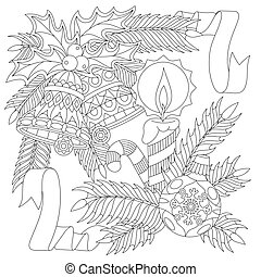 Zentangle New Year decorations - Coloring page of New Year...