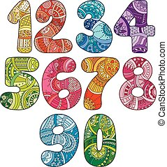 Zentangle numbers set. Collection of doodle numbers with...