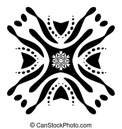 Zentangle ornament with abstract flower isolated on white