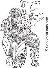 Zentangle patterned gorilla standing. EPS10 vector...