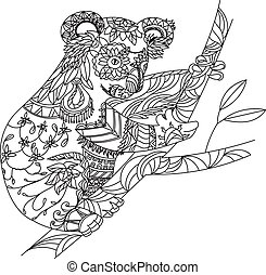 Zentangle patterned koala bear sitting on eucalyptus. EPS10...