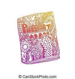 Zentangle patterned passport on white background