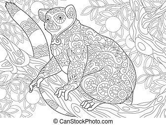 zentangle, stilisiert, lemur