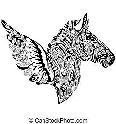 zentangle, stilisiert, zebra, mit, flügeln