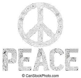 zentangle, stilizzato, parola, segno pace, di, pace, per,...