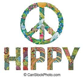 zentangle, stilizzato, segno, di, pace, con, parola, hippy.,...