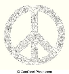 zentangle, stilizzato, segno, di, pace, per, coloring.,...