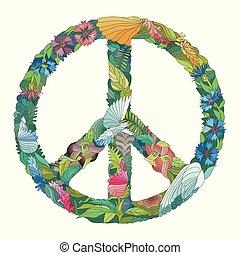 zentangle, stilizzato, segno, di, peace., mano, disegnato,...
