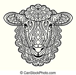f9a384bab Zentangle style. Coloring book for adult, antistress coloring pages. Hand  drawn vector isolated