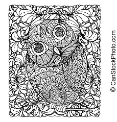 Zentangle style owl. Illustration with background and ornanets fill
