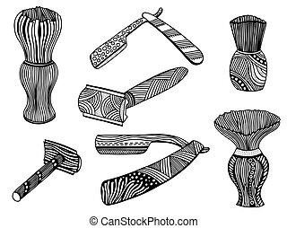 straight razor and shaving brush - Zentangle style set of...