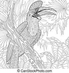 zentangle, stylisé, rhinocéros, hornbill, oiseau, (buceros,...