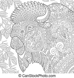 Zentangle stylized bison - Coloring page of buffalo...