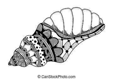 Zentangle stylized black sea cockleshell. Hand Drawn aquatic...