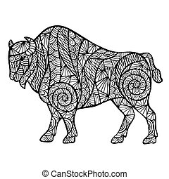 Zentangle stylized buffalo, handmade vector isolated on a...