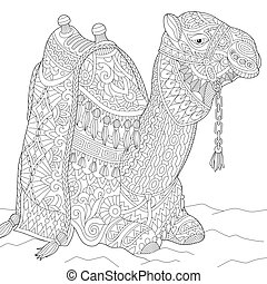 Zentangle stylized camel - Coloring page of camel. Freehand...