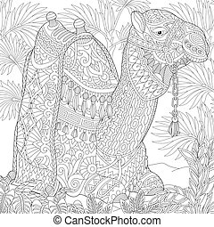 Zentangle stylized camel