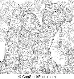 Zentangle stylized camel