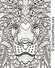 Zentangle stylized cartoon head of a lion