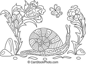 Zentangle stylized cartoon snail crawling among flowers. Sketch for adult antistress coloring page. Hand drawn doodle, zentangle, floral design elements for coloring book.