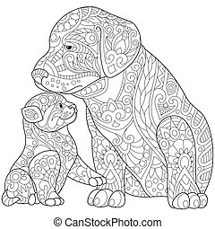 Zentangle stylized cat and dog