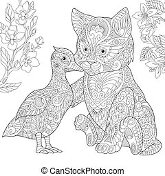 Zentangle stylized cat and duck