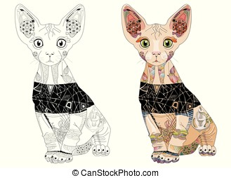 Zentangle stylized cat. Hand Drawn lace vector illustration