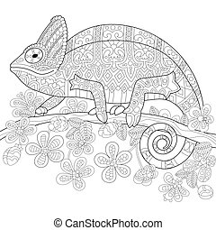 Coloring page of chameleon lizard and stylized tropical flowers. Freehand sketch drawing for adult antistress coloring book in zentangle style.