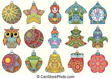 Zentangle stylized Christmas set of decorations. Hand Drawn lace vector illustration