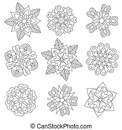 Zentangle stylized christmas snowflakes - Coloring page of...