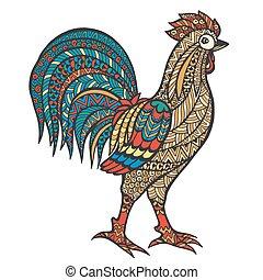 Zentangle stylized cock.