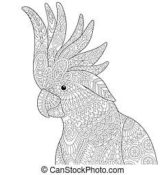 Zentangle stylized cockatoo - Coloring page of cockatoo...