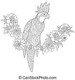 Zentangle stylized cockatoo parrot - Coloring page of...