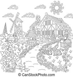 Coloring page of rural landscape. Farm house, windmill, water well, mail box, rabbits, bird, grape vines. Freehand sketch drawing for adult antistress coloring book in zentangle style.