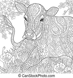 Zentangle stylized cow