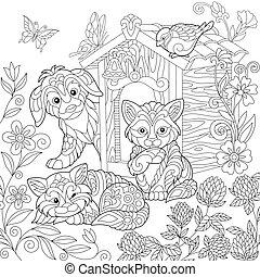 Zentangle stylized dog and cats
